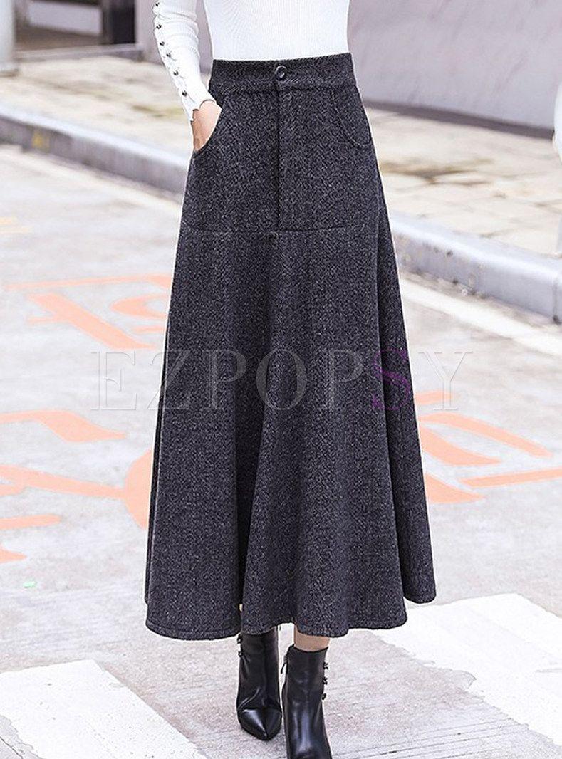 Vintage Woolen Striped Thicken Big Hem Skirt