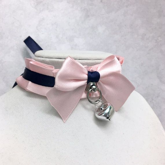Navy and Pastel Pink Collar- Kittenplay Petplay BDSM Collar-Kitten Day Collar- Pet/Kitten Gear-Choker- DDLG Little Girl Submissive