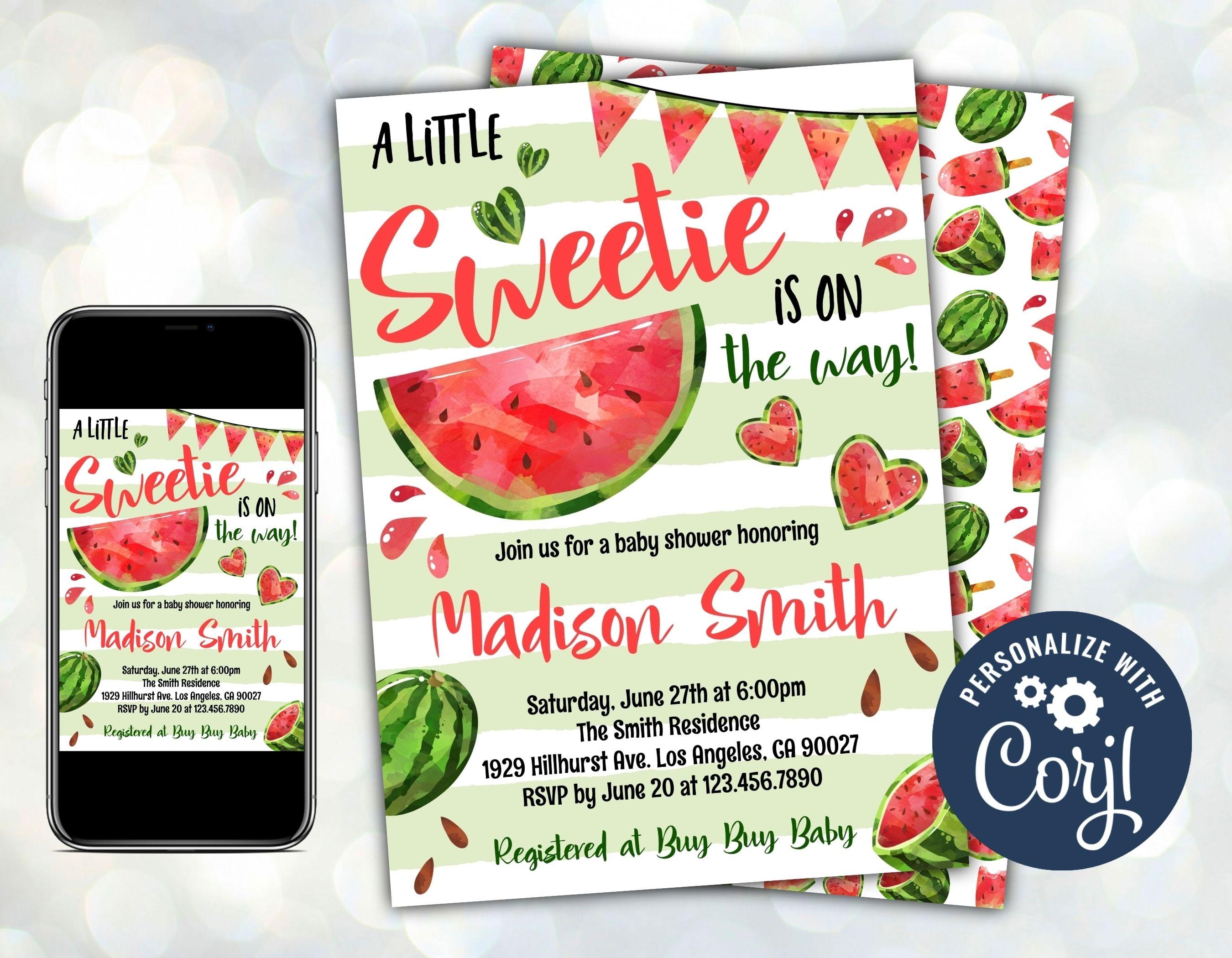 Watermelon Baby Shower Invitation, Summer Fruit Baby Shower Invitation