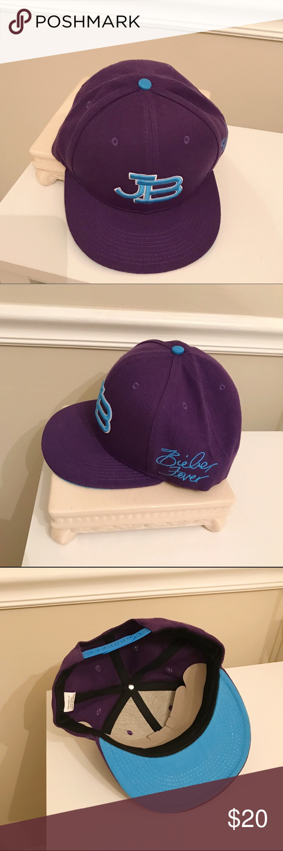 NWOT Justin Bieber SnapBack Cap JB Justin Bieber NWOT Bieber Fever Snapback  Adjustable Flat Brim Purple and Blue Hat. Came from a batch of leftover  concert ... 0b87a52b3c5f