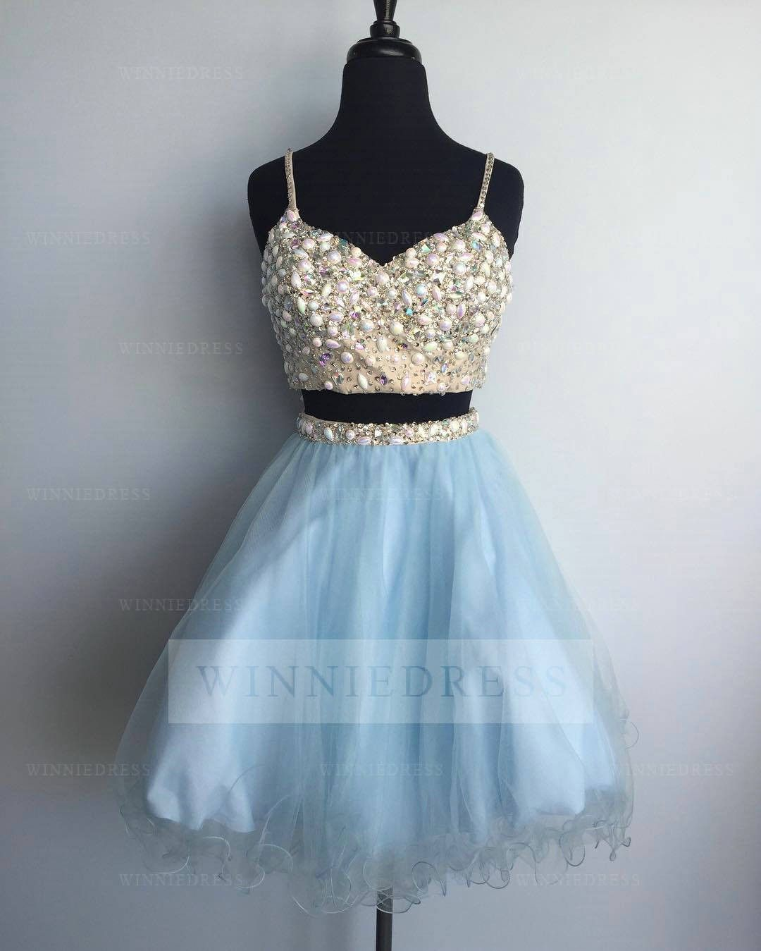 Shop discount Spaghetti Straps A-line Knee Length Tulle Sky Blue Two ...