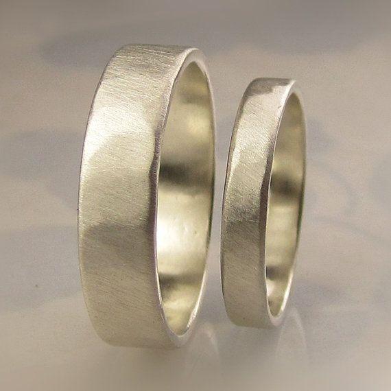 Recycled Palladium Sterling Silver Wedding Bands Set von artifactum, $185.00