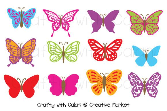2 check out butterfly clipart in candy color by crafty with calani on creative market - Butterflies To Color 2