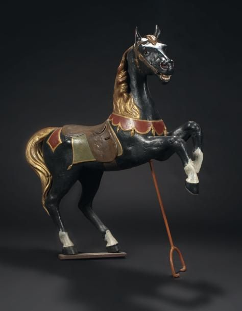 4a71002e09a Gustave BAYOL 1900 Rearing horse - Painted carved wood - Plaque with  manufacturer s signature.