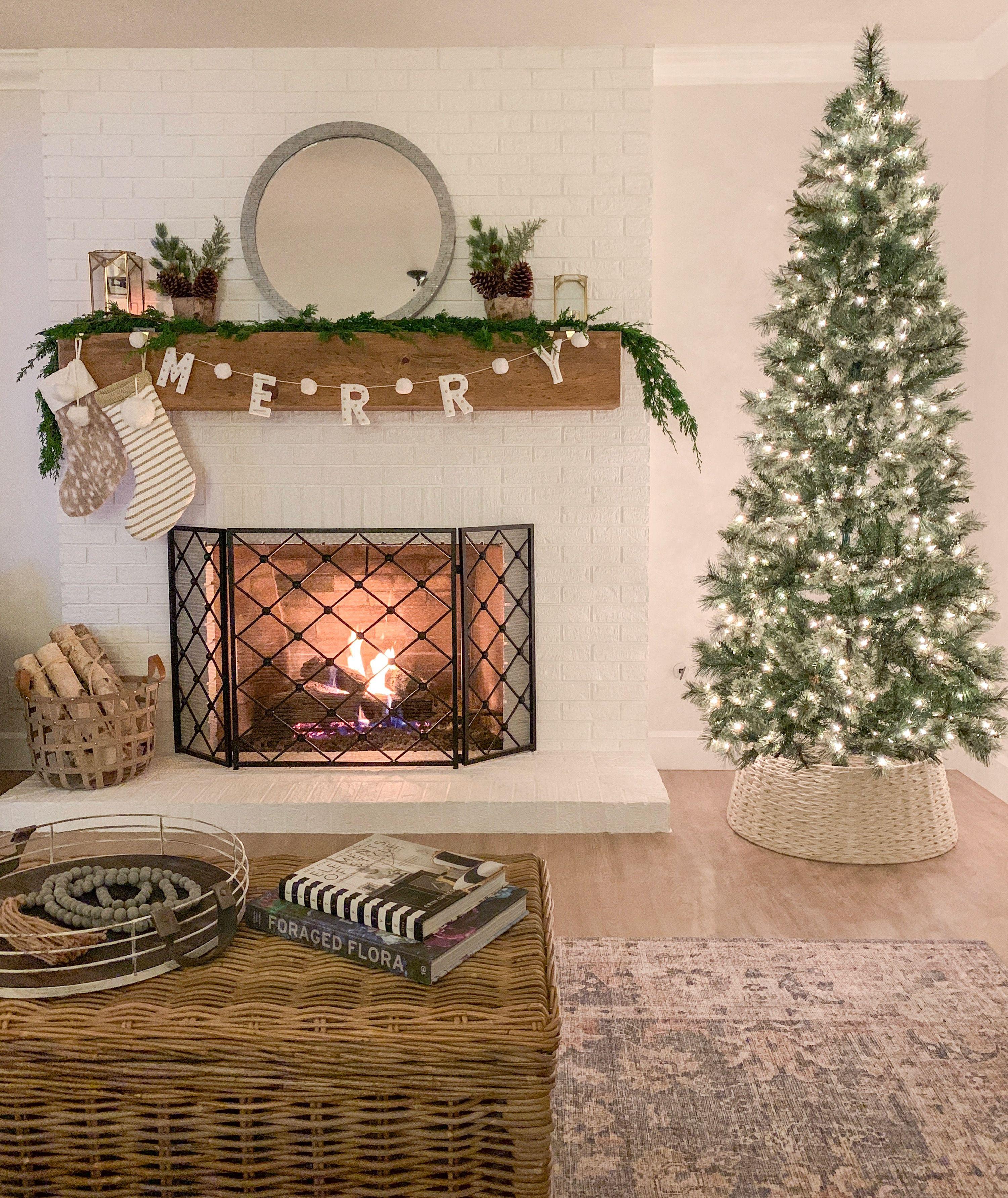 Neutral Cozy Christmas Living Room Cozy Christmas Living Room Christmas Living Rooms Holiday Mantel