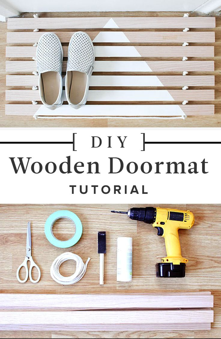 How To Make Your Own Wood Door Mat Wooden Diy Diy Door