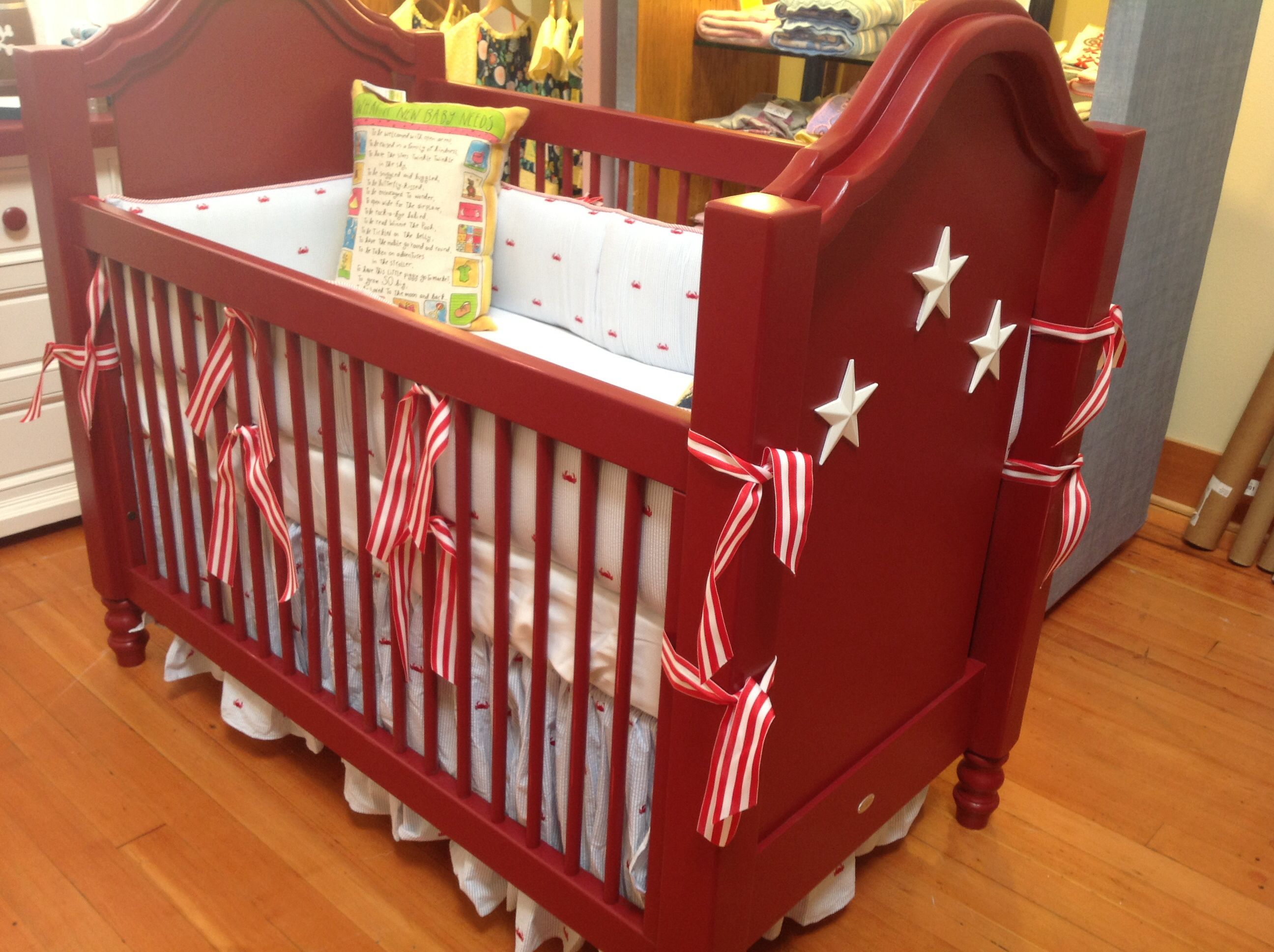 Newport Cottage Crib With Doodlefish Baby Bedding Solid Wood Crib Painted  Red With White Stars Appliqué
