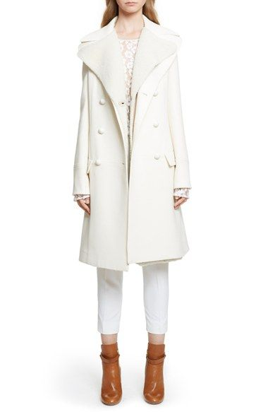 Chloé Wool Crepe Coat with Removable Genuine Shearling Vest