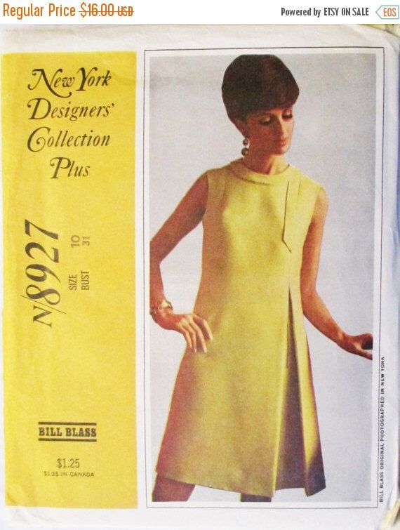 1960s Vintage Sewing Pattern McCalls 8927 Bill Blass Misses Dress ...