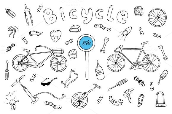 bicycle collection in doodle style doodles hand drawn vector illustrations design skorpion vektor huhn