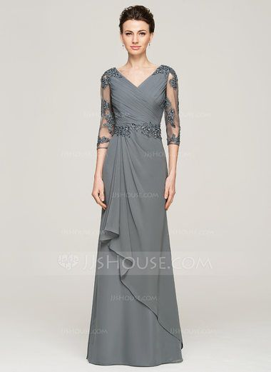 A-Line/Princess V-neck Floor-Length Chiffon Mother of the Bride Dress With Beading Appliques Lace Sequins Cascading Ruffles (008062572) - JJsHouse