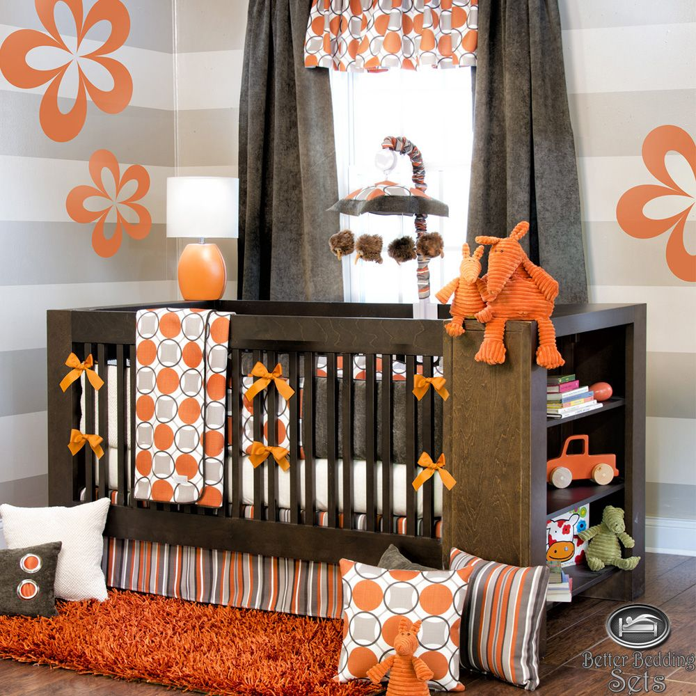 Crib Bedding Orange Grey