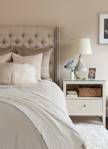 Cream U0026 Gray Bedroom   Linen Tufted Headboard With Nailhead Trim, Silver  Lamp And White Nightstand.