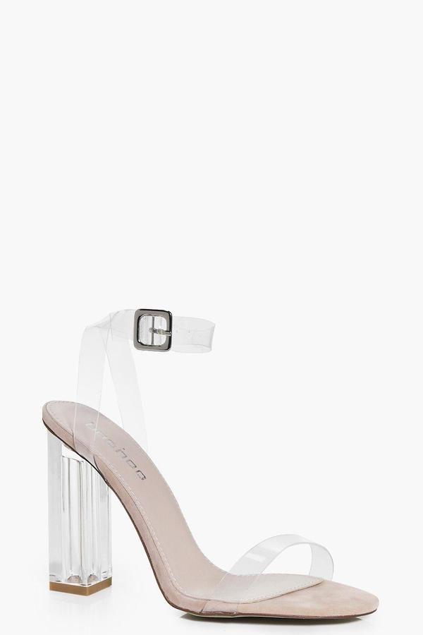 fad5755ee2a Vanessa Suedette Clear Block Heels