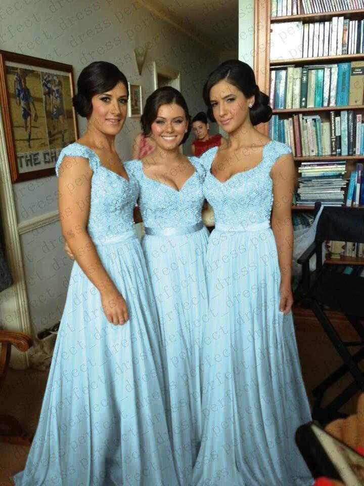 Sky Blue Chiffon Corset Long Bridesmaids Dress, Formal Prom Dress