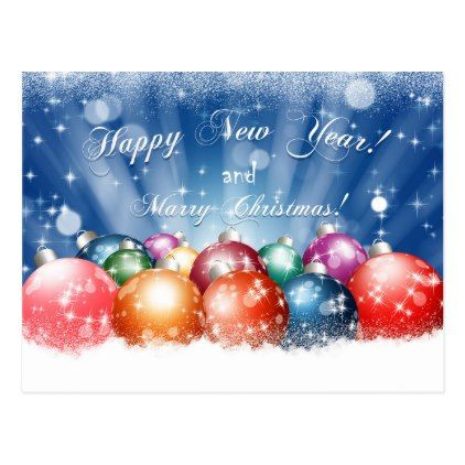 happy new year and merry christmas baubles postcard merry christmas postcards postal family xmas card holidays diy personalize