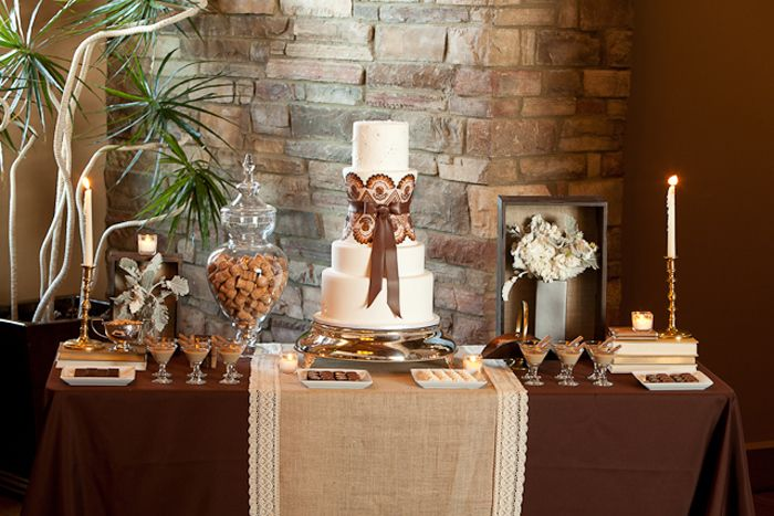 Elegant Rustic Guest Dessert Feature   Amy Atlas Events