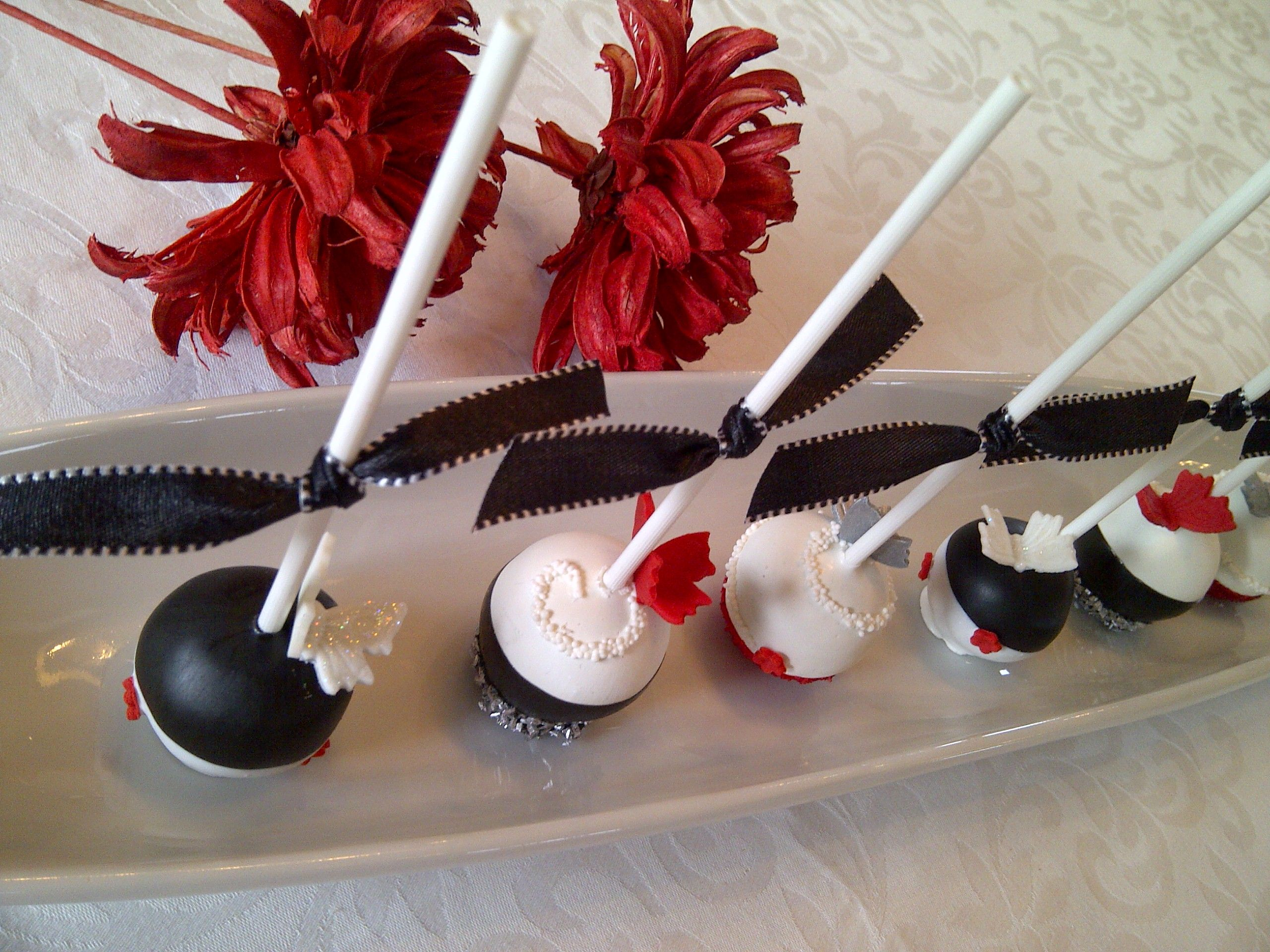 Black White Red Silver Cake Pops By Creative Cakepops