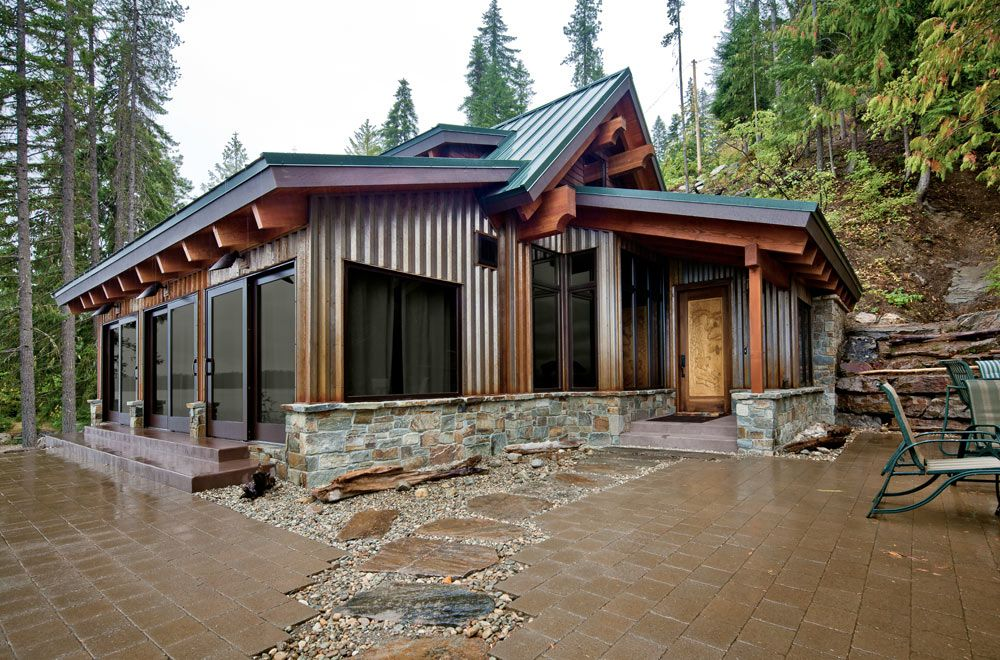 I Like The Mix Of Metal Siding Big Windows And Wood On This Cabin Metal Building Homes Building A House House Exterior