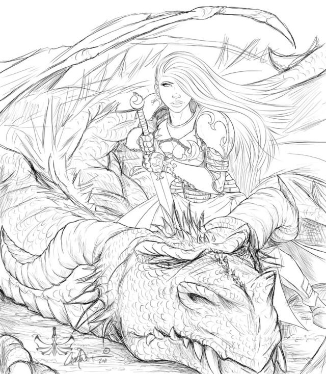 Wip Fire Ronin Picture By Caleb White Caedanw Line Art Drawings Witch Coloring Pages Fantasy Drawings