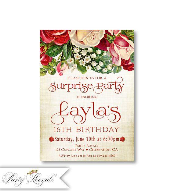 Surprise 16th Birthday Invitations Teen Girls Sweet 16