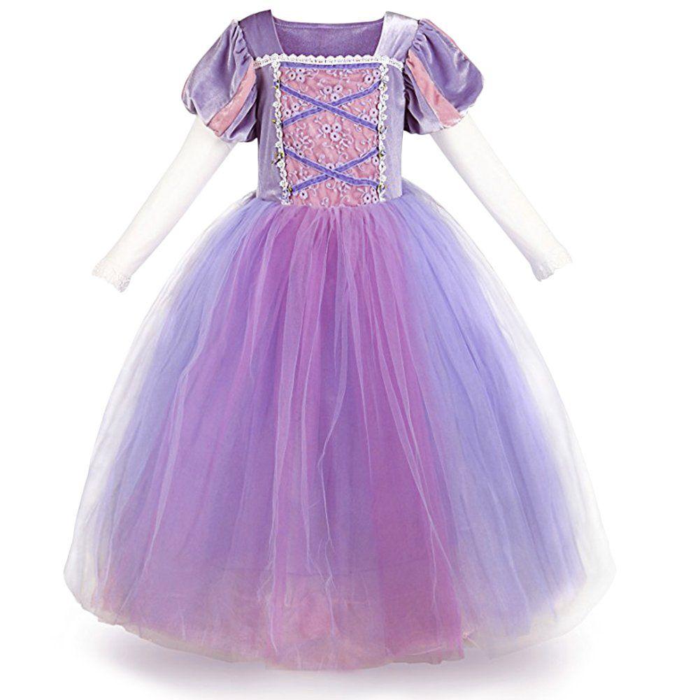 Girls Princess Dress Sofia Rapunzel Fancy Cosplay Dresses Long Maxi Gown for Kid