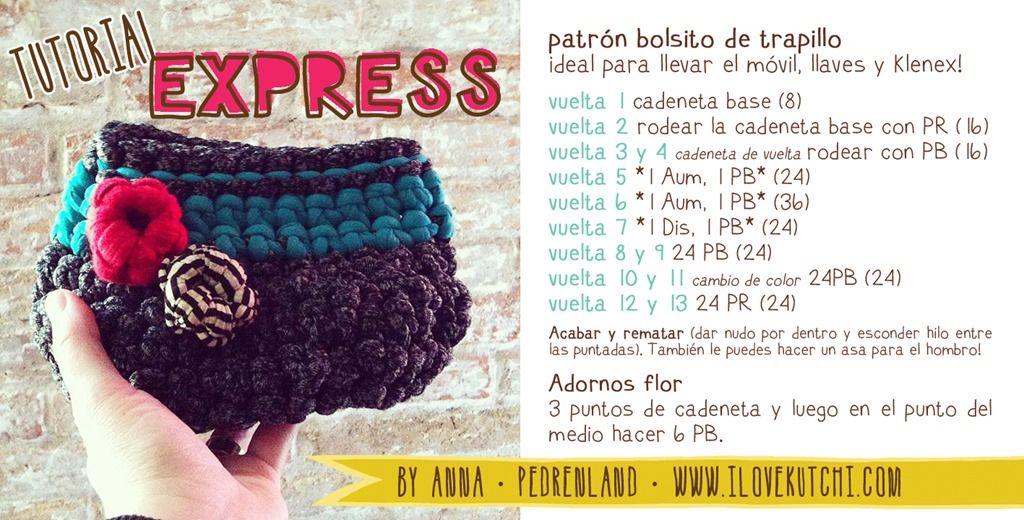 Bolsito de Trapillo - Patrón Gratis en Castellano | Crochet ...