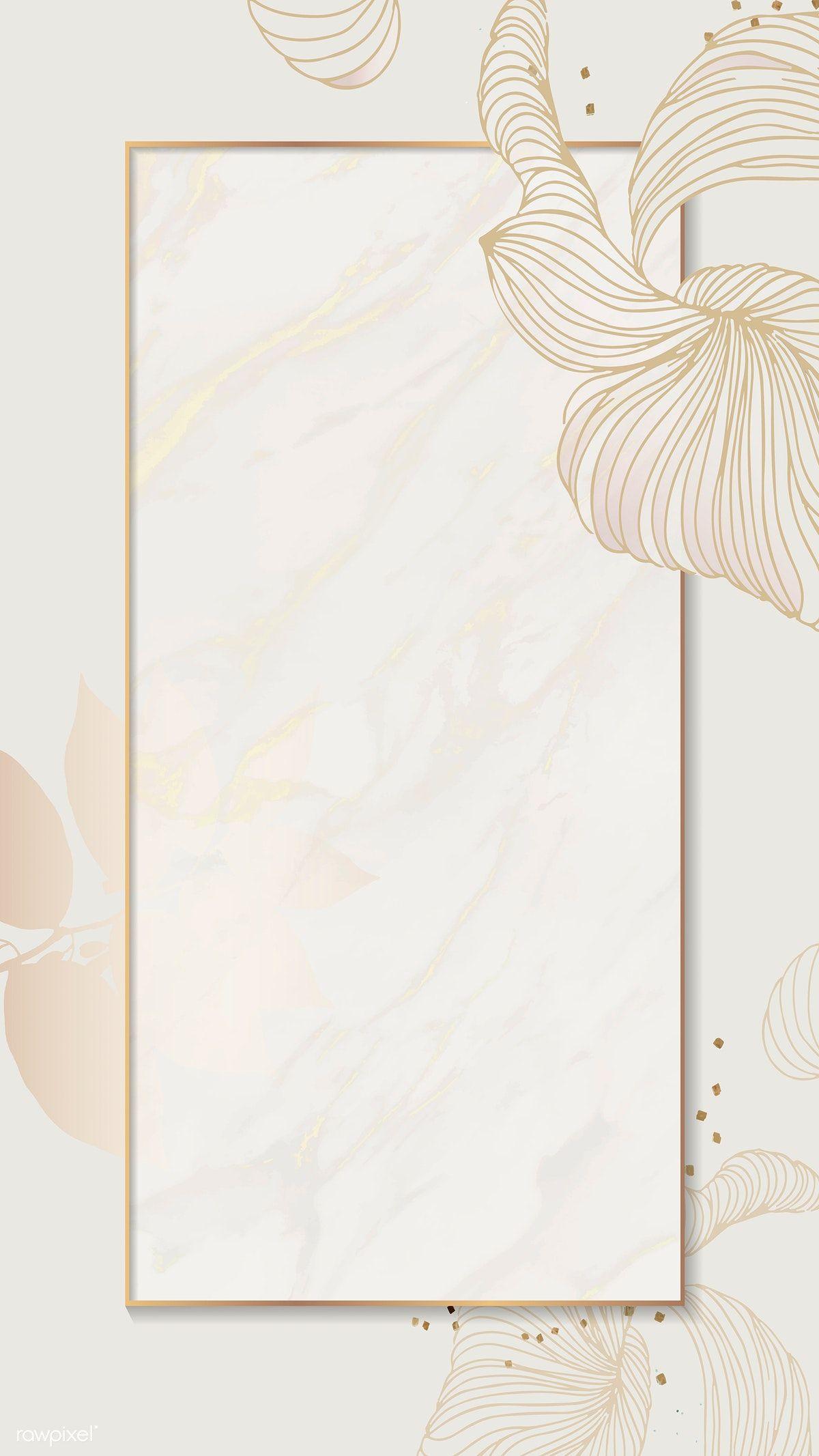 Download Premium Vector Of Golden Floral Rectangle Frame Mobile