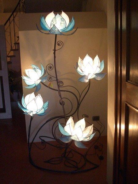 Custom Made Italian Blue Lotus Flower Lamp Flower Lamp Flower Floor Lamp Lamp
