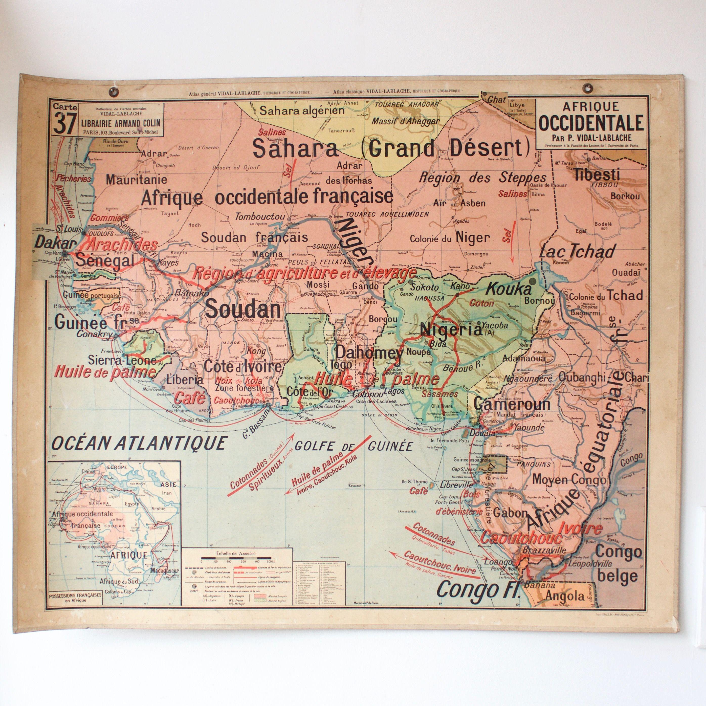 Carte Scolaire Ancienne N37 Afrique Occidentale French Vintage