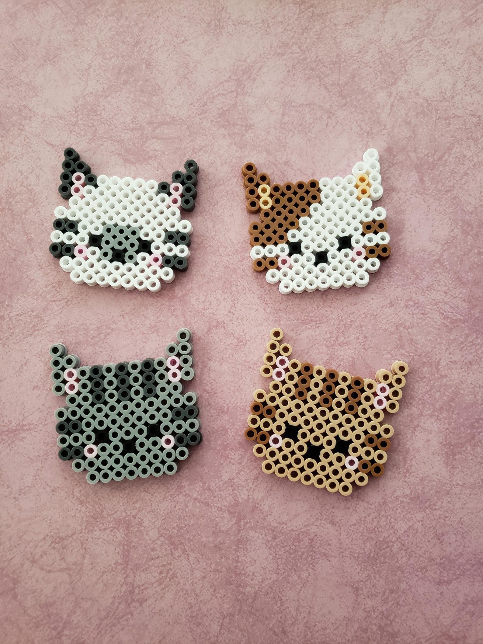Cat Perler Bead Head | Hama | Perler bead designs, Hama
