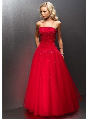 Robe de soiree rouge bustier
