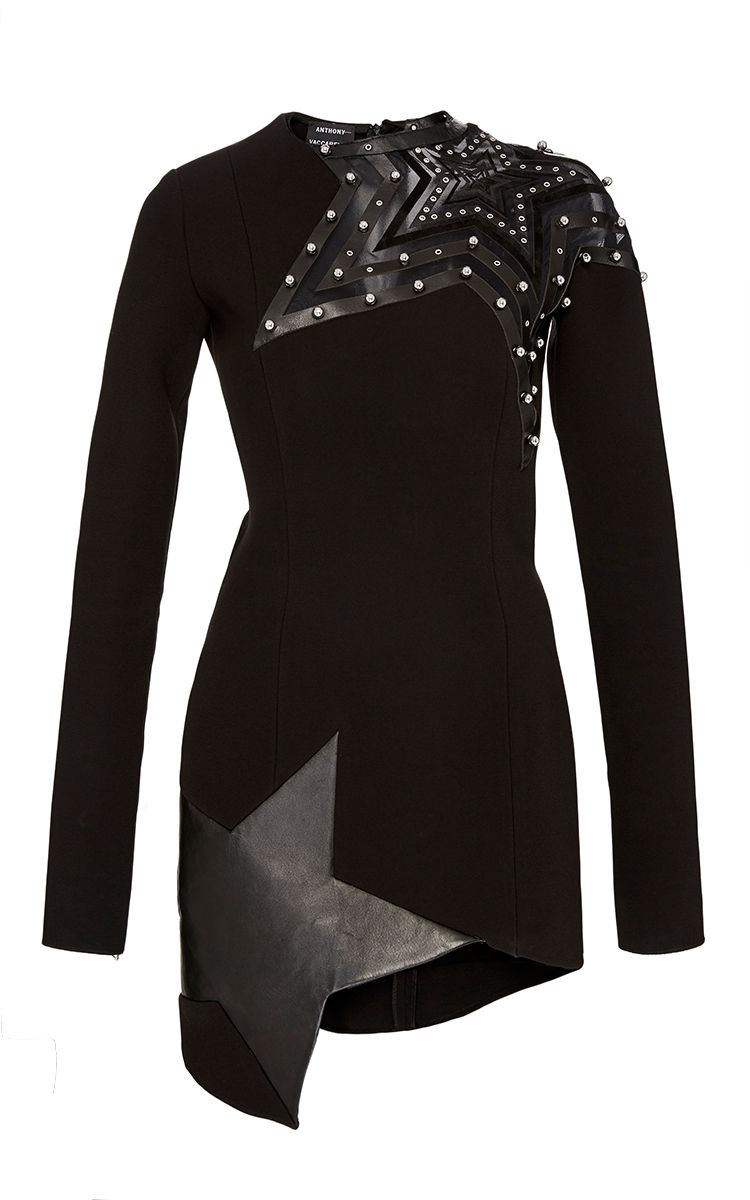 Anthony vaccarello embroidered stars long sleeve dress fashion
