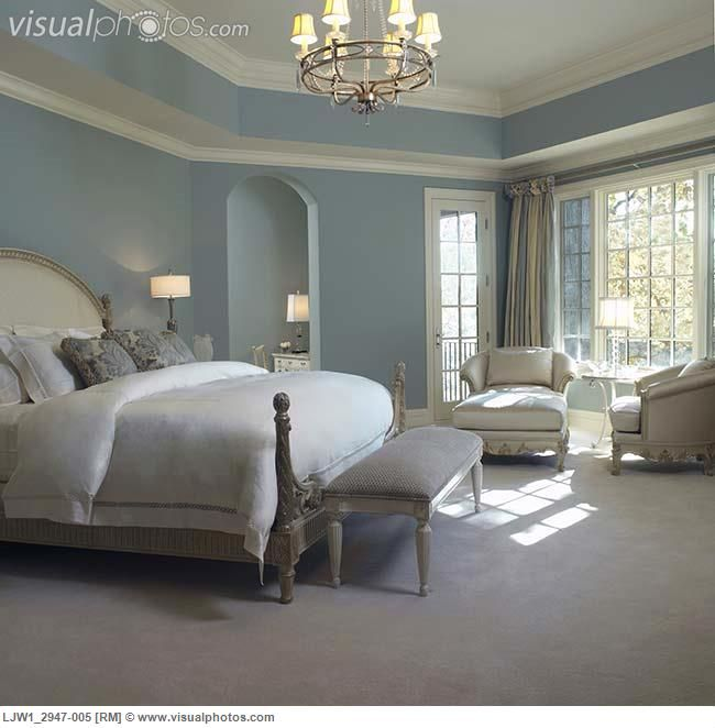 French Country Blue Paint Colors | Master Bedroom: Soft Blue Walls, White  Woodwork,French Style .