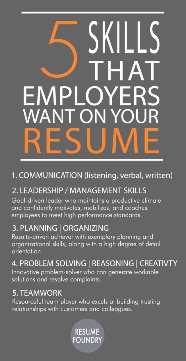 Career infographic : 5 Skills That Employees Want on Your Resume ...