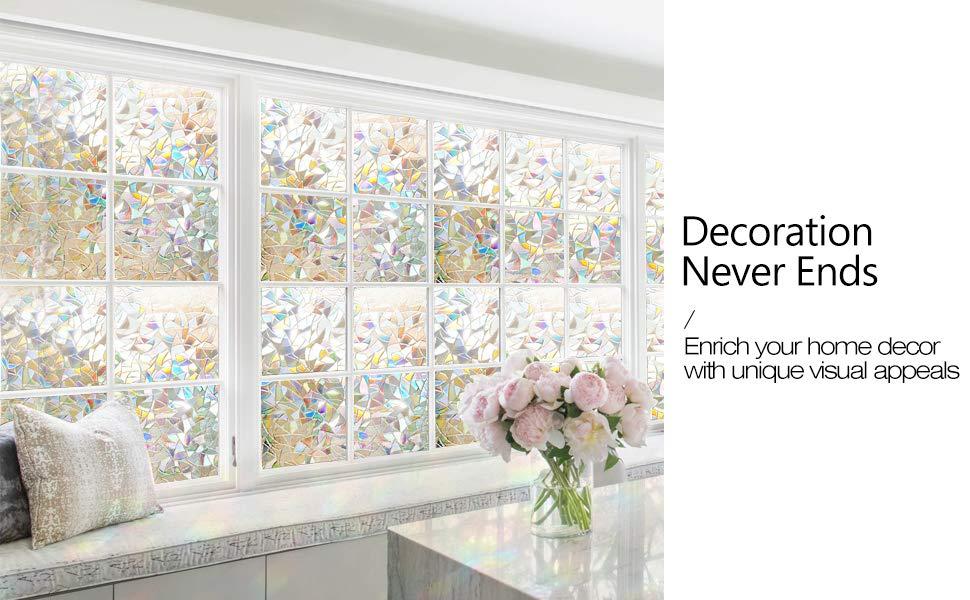 Amazon Com Rabbitgoo 3d Decorative Window Film Non Adhesive