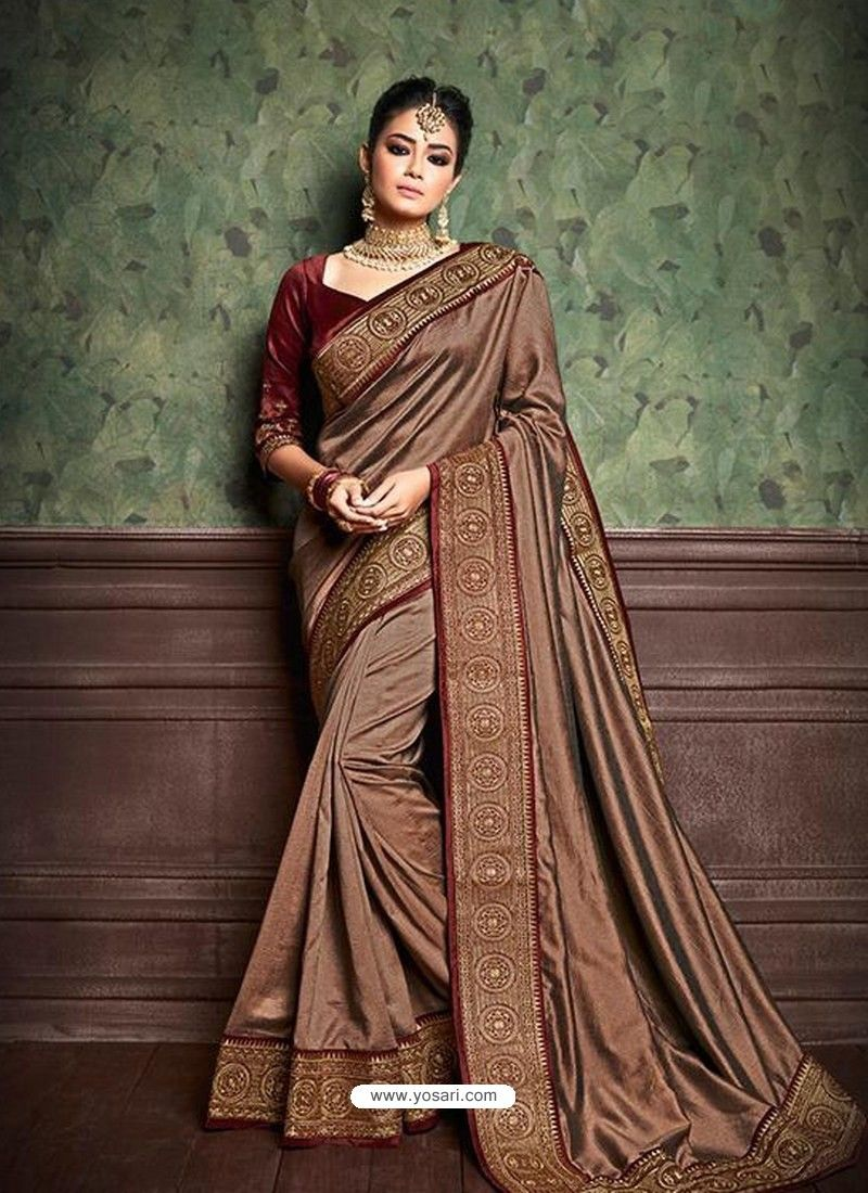 61330fe58e Dusty Pink Party Wear Designer Silk Saree in 2019 | DESIGNER SAREES ...