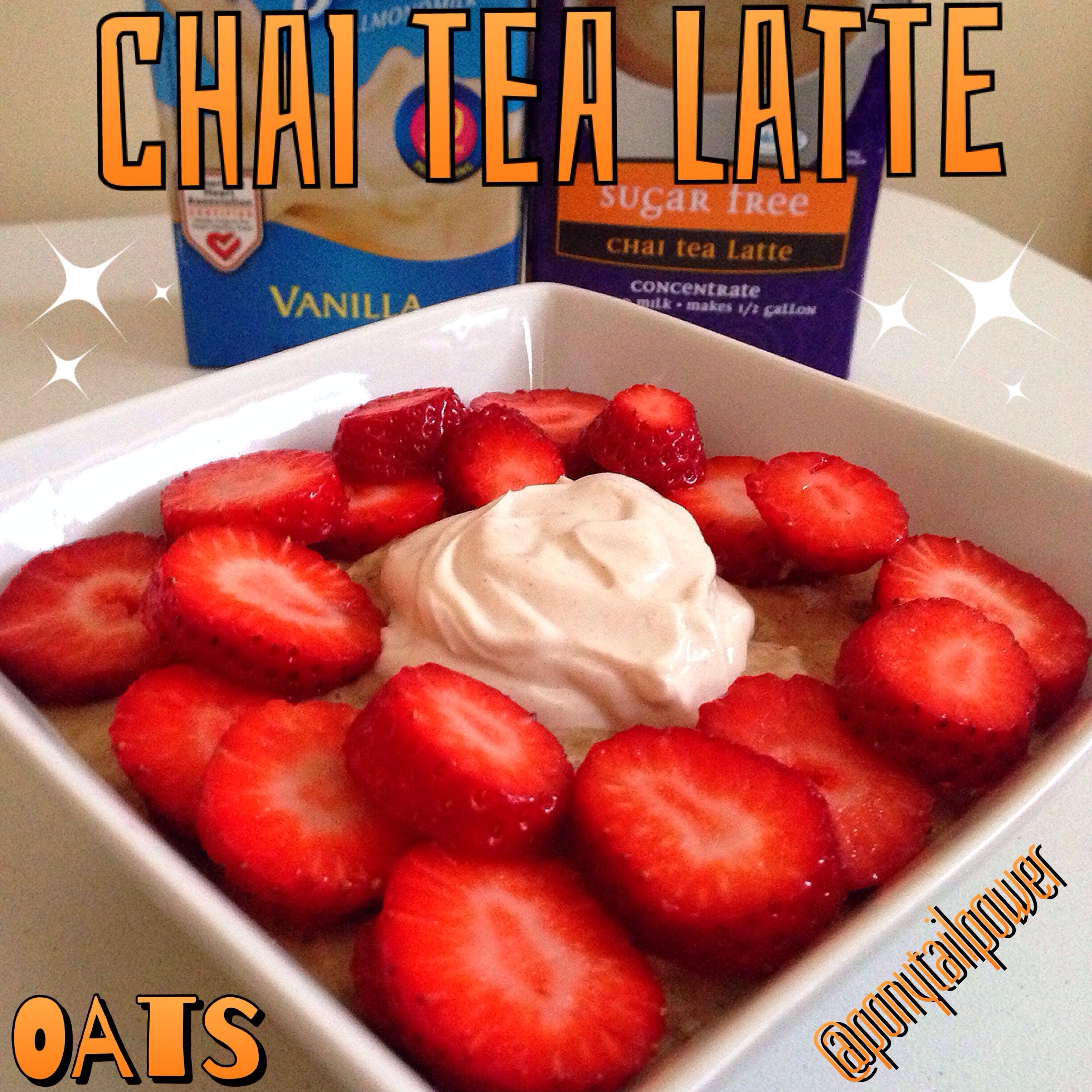 ☕️1/2 cup oats ☕️1/2 cup sugar free #OregonChai latte tea  ☕️1/2 cup unsweetened vanilla almond milk  ☕️Organic Saigon cinnamon to taste  ☕️Microwave for 3:00 ☕️Whisk in 1/2 cup liquid egg whites ☕️Microwave for :30 ☕️Whisk and Microwave final :30 ☕️Top with vanilla creme  ✴️1/4 cup  Greek yogurt  ✴️1 packet stevia  ✴️Chai spices to taste {{cardamomcinnamonall spicenutmeggingerclovesblack pepper (I didnt use)...you can also use apple pie spice!