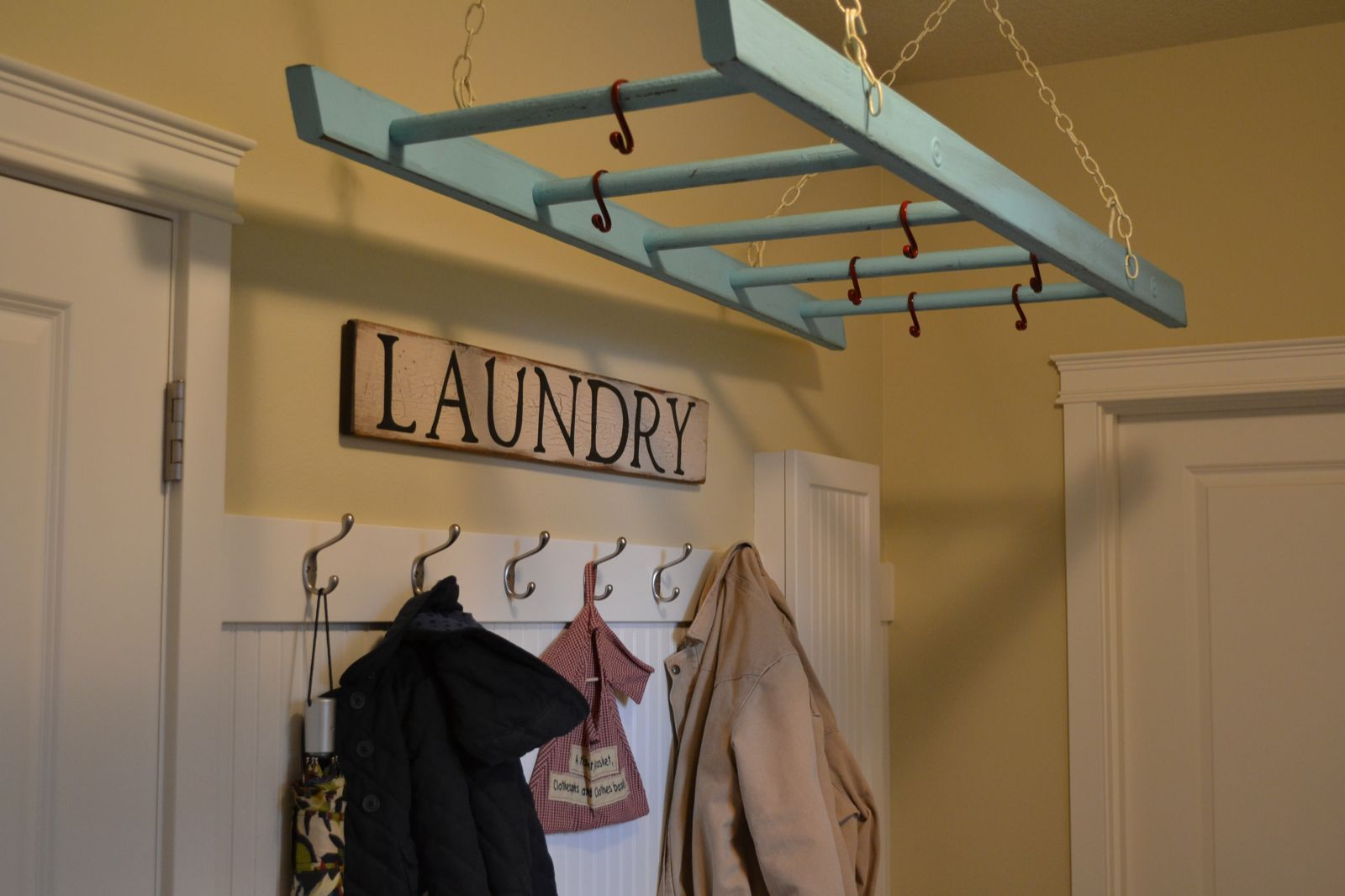 Ladder laundry rack for the home pinterest laundry laundry