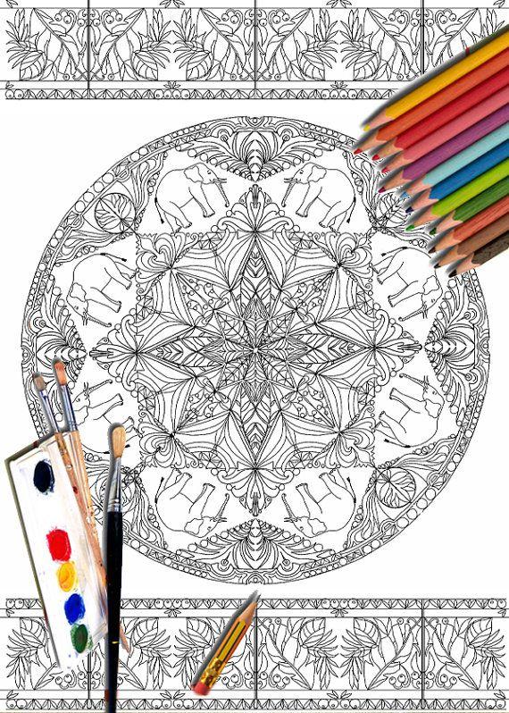 Mandala Coloring Pages Elephant Art Printable Mandala by ValrArt ...