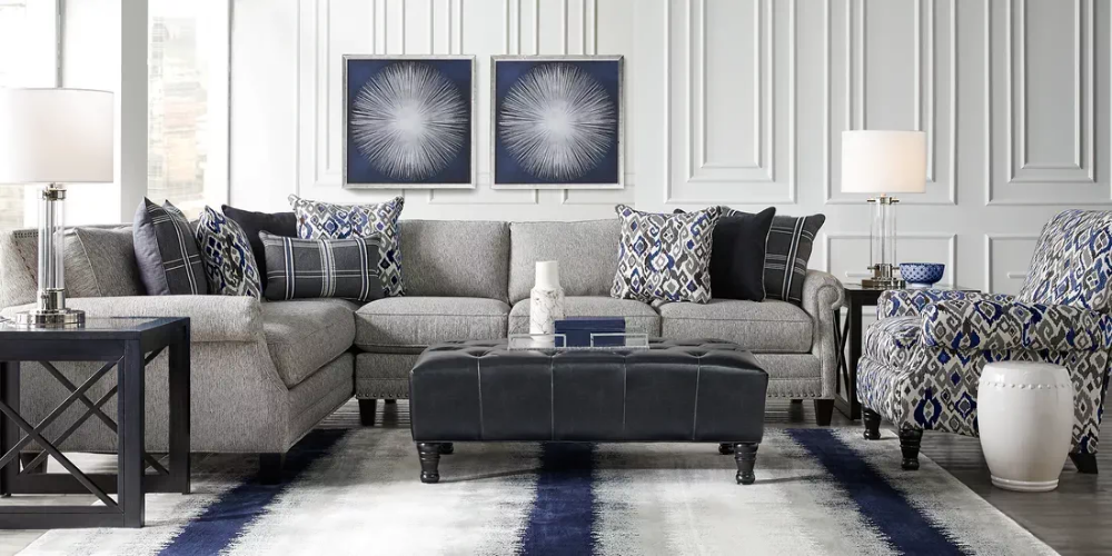 Cindy Crawford Home Champlain Heights Pewter 2 Pc Sectional Living Room Sectional Living Room Leather Living Room