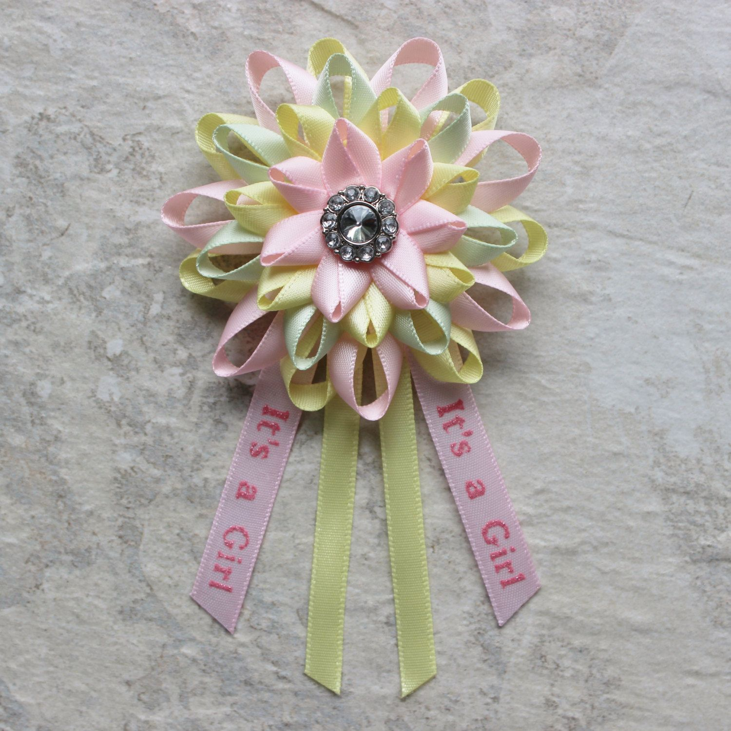 Good Its A Girl Pin Baby Shower Corsage Pink Green Yellow Baby Shower  Decorations Baby Girl Shower