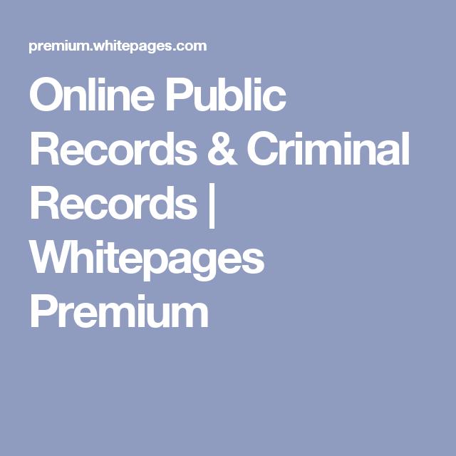 Online Public Records & Criminal Records | Whitepages