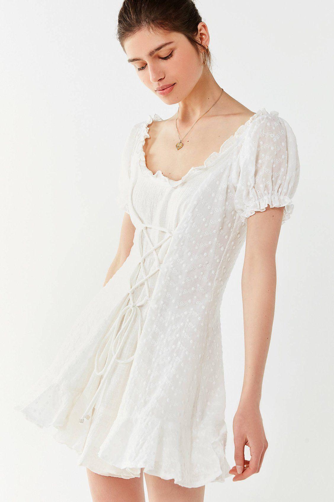 Lioness The Goldie Lace Up Eyelet Dress Dresses Lace White Dress Urban Dresses [ 1692 x 1128 Pixel ]