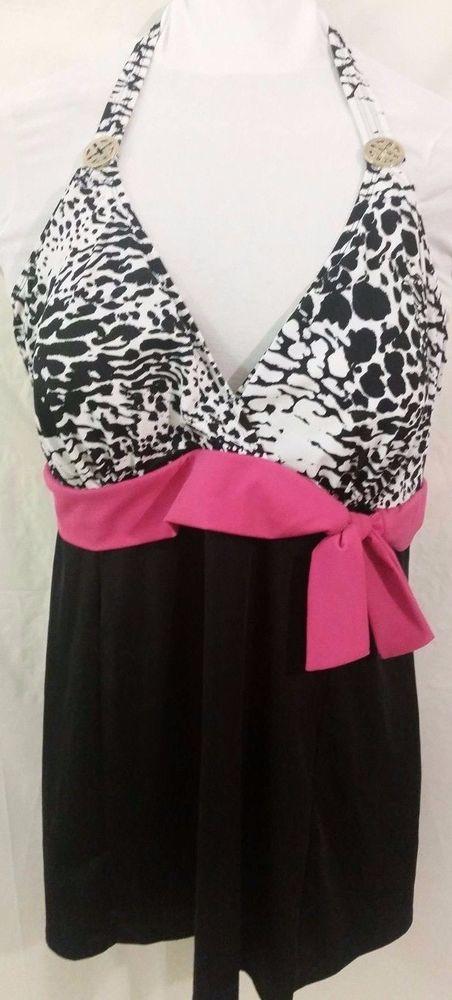 a6bc1c5defb9e 22W Jaclyn Smith Halter Swimsuit Swimdress Skirted Black Pink Animal Print  Plus #JaclynSmith #Swimdress
