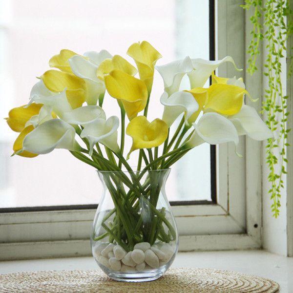 10pcs cala látex flores artificiales flores de lis de la boda ramo