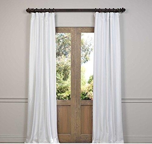 108 Inch Eggshell Color Rod Pocket Curtain Single Panel White
