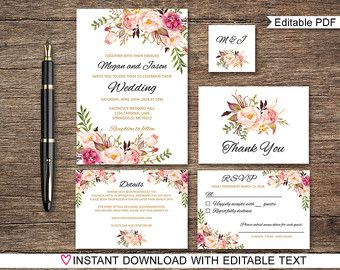 floral wedding invitation printable rustic wedding invitation suite boho chic wedding invite spring wedding invite set diy wedding por digartdesigns