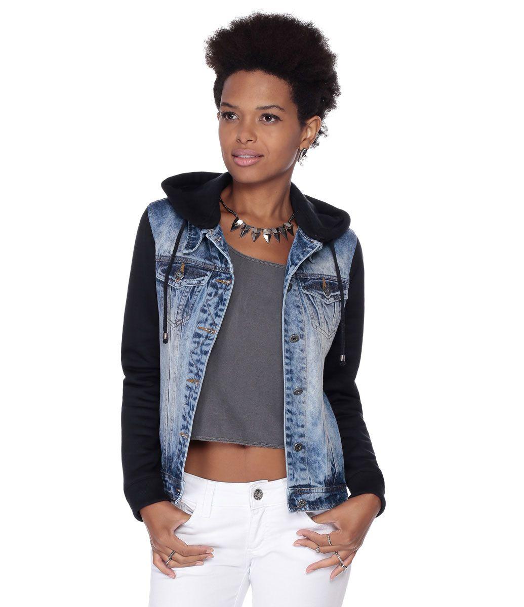d3bdf513cd Jaqueta Feminina em Jeans com Capuz e Mangas em Moletom - Lojas Renner
