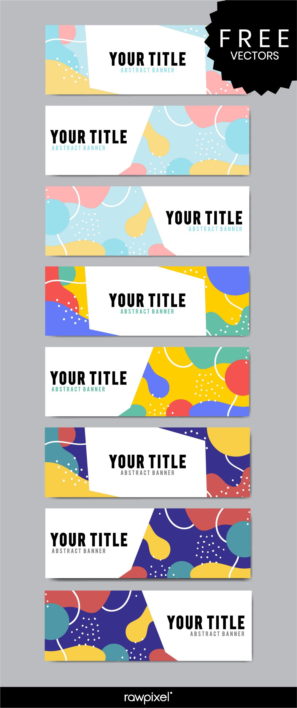 Download free modern business banner templates in Memphis